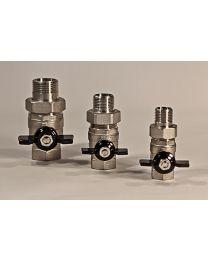 valve sphérique avec levier et raccord [Prix par pièce]