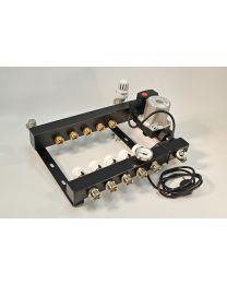 Stalen verdeler met Active Flow Control, temperatuursregeling, by-pass en pomp [Prijs per set]