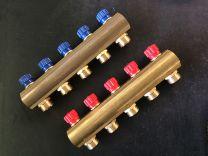 Collecteur en laiton 4/4 x EK avec vannes blue [Prix par pièce]