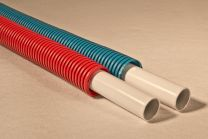 Super pert met mantel (rol) blauw [Prijs per meter]
