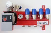 Collecteur en acier, réglable avec régulation de température constante, A-label pompe et by-pass [Prix par set]